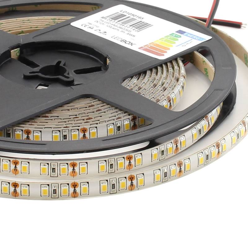 Tira LED Monocolor SMD2835, ChipLed Epistar, DC12V, 5m (120Led/m) - IP65, Blanco neutro